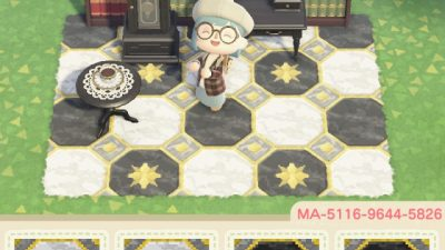 ACNL QR Codes qr-closet:  elegant tile path in black, white, and gold