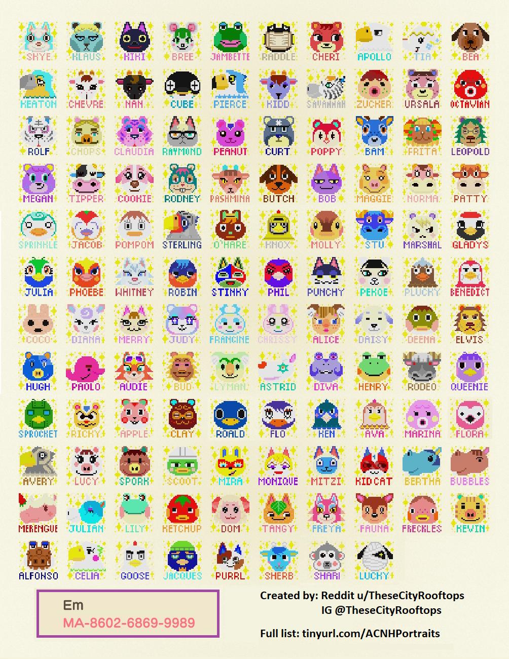 qr-closet:all 391 villager portraits with names 🎉