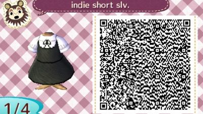 ACNH QR White collared blouse paired under a black dress. Enjoy! ♡