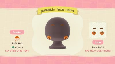 ACNH QR Codes Bidoof Crossing – autumnplaysacnh: Pumpkin face paint