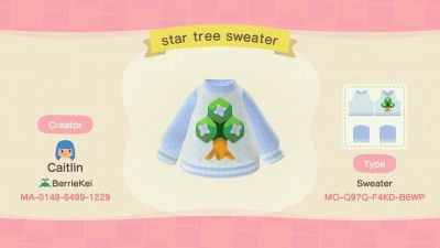 ACNH QR Codes Bidoof Crossing – qr-closet: star tree sweater 🌳