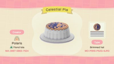 ACNH QR Codes Bidoof Crossing – happyhappydesigns: Celestial Pie Hat