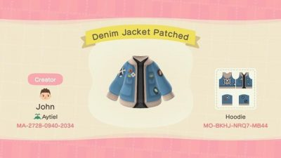 ACNH QR Codes qr-closet:denim jacket w/ patches ✨