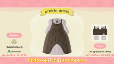 ACNH QR Simple prairie dress for all your cottagecore needs, enjoy!