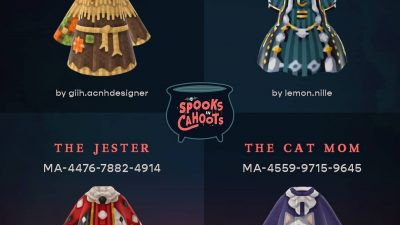 "ACNH QR Codes qr-closet:""spooks in cahoots"" halloween costume collection~ the…"