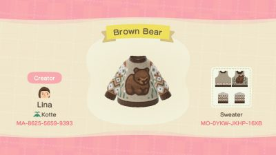 ACNH QR Codes qr-closet:cozy bear sweaters