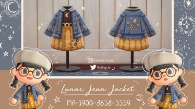 ACNH QR Codes crossingdesigns:lunar and starry jean jackets by @Nalikaylee on…