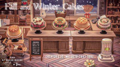 ACNH QR Codes qr-closet:  fall & winter cakes 🍰