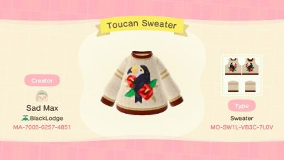 ACNH QR Codes qr-closet:toucan sweater ✨