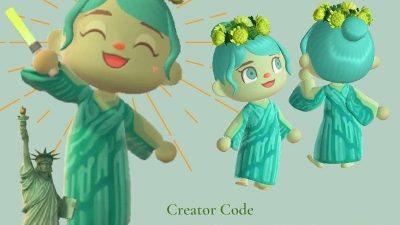 ACNH QR Codes qr-closet:statue of liberty dress 🗽