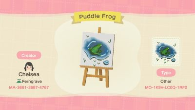 ACNH QR Codes qr-closet:frog in a puddle 🐸