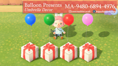 ACNH QR Codes happyhappydesigns:Balloon Present UmbrellasPlace a raffle…