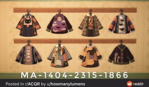 "acnhcustomdesigns: ""halloween clothing """