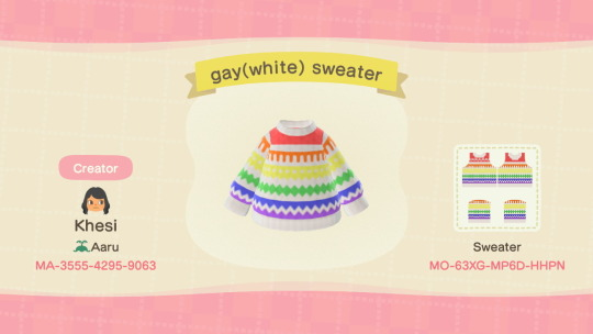 ACNH QR Codes acnhcustomdesigns: lgbtq sweaters and beanies with hearts submitted and designed by khesi of aaru