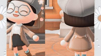 Animal Crossing: •𝖢𝗁𝗂𝖼 𝖳𝗋𝖾𝗇𝖼𝗁 𝖼𝗈𝖺𝗍 𝗈𝗎𝗍𝖿𝗂𝗍• DESIGN CODE: MO-9PF1-28W5-FNF7 This is my first Pro design since ACNL in 2017 or 2018 so I'm pretty Rusty 😂