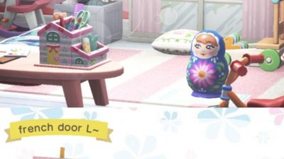 Animal Crossing: French door design in cool pink