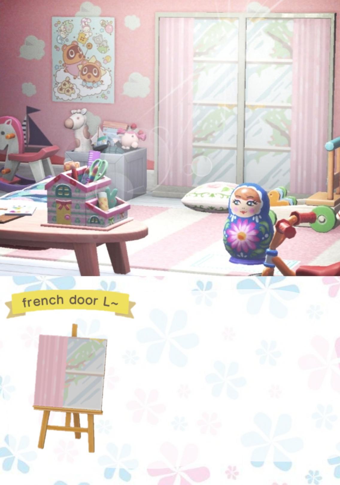 French door design in cool pink