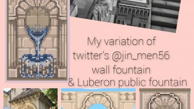Animal Crossing: I created a standee fountain based on one from Luberon, and a wall fountain variation of the gorgeous one made by twitter@jin_men56. Ables is full, so here are my pixel designs. Please tag me if you use this (would love to see) and give credit back to the original artist😊