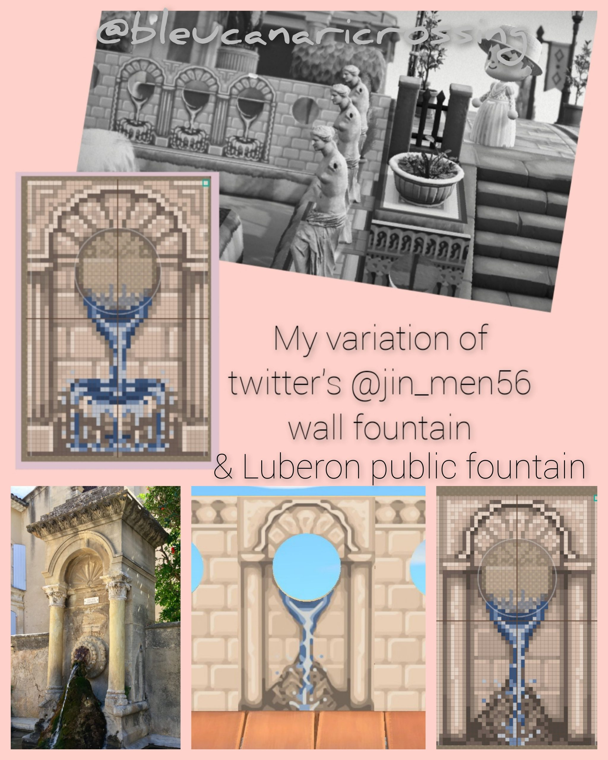 I created a standee fountain based on one from Luberon, and a wall fountain variation of the gorgeous one made by twitter@jin_men56. Ables is full, so here are my pixel designs. Please tag me if you use this (would love to see) and give credit back to the original artist😊