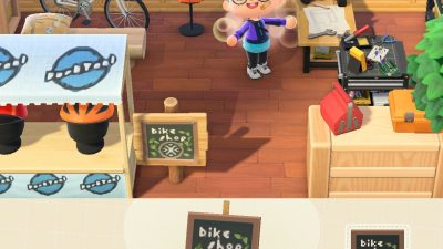 Animal Crossing: I made a little bike shop! Tool and wheel designs are uploaded to my creator code.