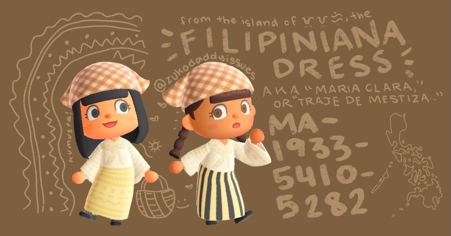 I made filipiniana dresses in animal crossing! (MA-1933-5410-5282)