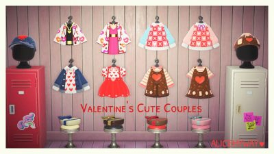 Animal Crossing: I made the Valentine's Cute Couples Outfits.😍🥰 Wish your happiness on Valentine's day coming.❤️ Alicemyway MA 4417-9870-5978