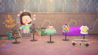 Animal Crossing: *MA-2161-1740-9588* 🏷️ short-sleeve dress, short-sleeve shirt, colorful, spring, summer, kidcore, rainbow, pastel, pink, blue, green, yellow, fruit, banana, hearts, rainbow, 80s, nostalgic, retro Instagram @/monicabuilds