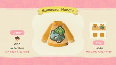 Animal Crossing: Made a hoodie featuring the best Pokémon out there ;) As the weather continues to cool down, let Bulbasaur keep you warm!