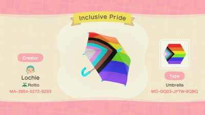 Animal Crossing: Made the Inclusive Pride Flag into an umbrella