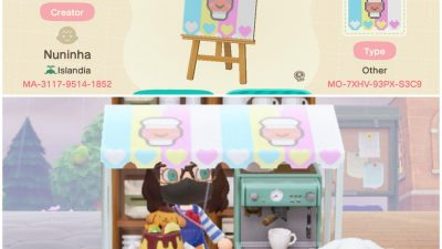 Animal Crossing: My first upload to the design portal – A Cinnamoroll Café stall