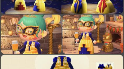 Animal Crossing: Sequin-top party gown for New Year's! Grid included.