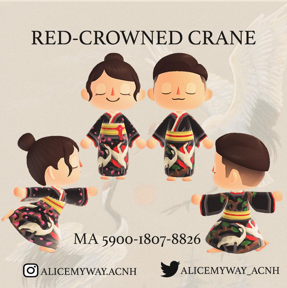 Sharing Red-Crowned Crane Kimono for Lady and Gentlemen with Gratitude in Tokyo Olympic 2020. 😊🖤🕊🕊