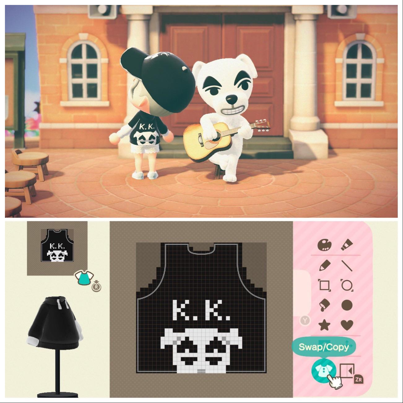 Wanted K.K. Slider merch to hang in my store (pixel grid included, code in comments)