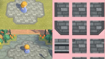 Animal Crossing: grey brick path with border and stairs!