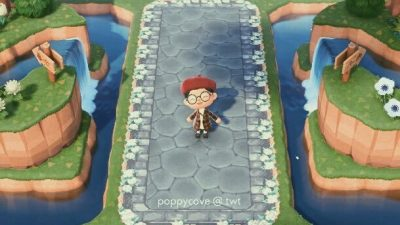 ACNL QR Codes qr-closet:  flowery cottagecore borders for stone and brick…