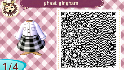ACNH QR Here's a white button up shirt paired with a black & white gingham print skirt with or without an orange crossbody bag. Enjoy!🧡🖤