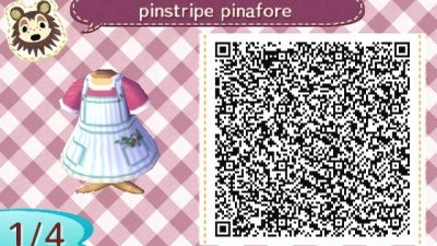 ACNH QR Here's a cute pinstripe pinafore dress with flowers in the pockets. Enjoy! ♡