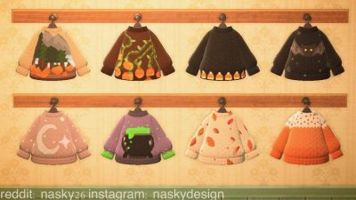 ACNH QR Codes qr-closet:fall-themed sweaters 🍂