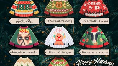 ACNH QR Codes qr-closet:ugly christmas sweater collab 🎄    Top Row (left to…