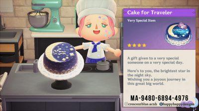 ACNH QR Codes happyhappydesigns:Cake for Traveler / Celestial Cake HatThe…