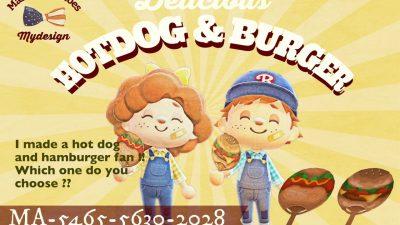 ACNH QR Codes qr-closet:  hot dog & burger fans ✨