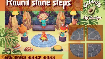 ACNH QR Codes qr-closet:  round stone steps ✨