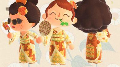 Animal Crossing: Designed the 1970s Retro Fashion mixed with Japanese Kimono. Enjoy wearing. 💛🤎🧡🥰