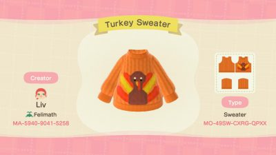 Animal Crossing: Made a Turkey Sweater just in time for Thanksgiving!