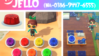 Animal Crossing: Made some jello in assorted colours! Use it for a food stall, or put it on your head
