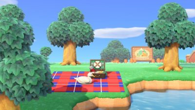 Animal Crossing: Untitled Goose Game picnic blanket (code in comments)