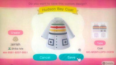 Animal Crossing: Vintage Hudson Bay Coat – 1st design! 😁