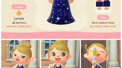 Animal Crossing: blue sequin New Year's Eve dress! Let me know if you want in other skin tones
